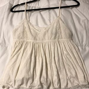 Ivory lace top babydoll tank top